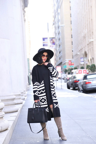 hat blogger black and white felt hat black dress saint laurent black leather bag knee high boots suede boots nude boots winter outfits printed cardigan mini knit dress black knit dress