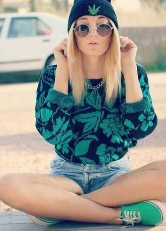 sweater weed shorts shoes sunglasses hat