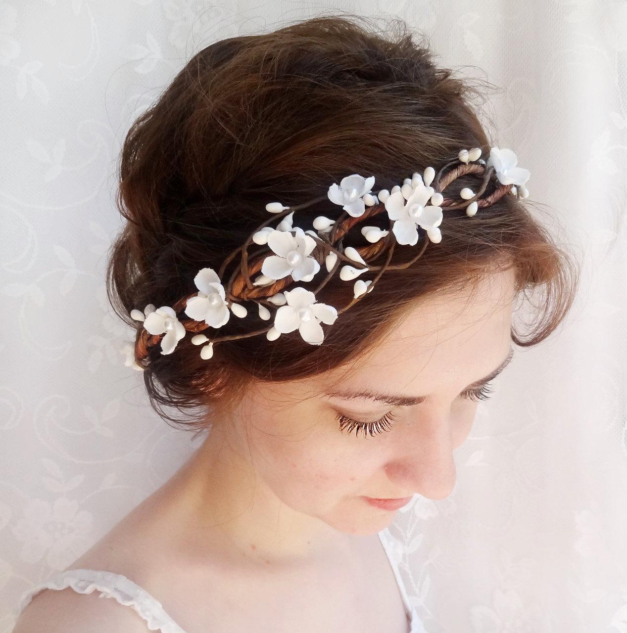 hair accessories, wedding flower headpiece, white flower crown