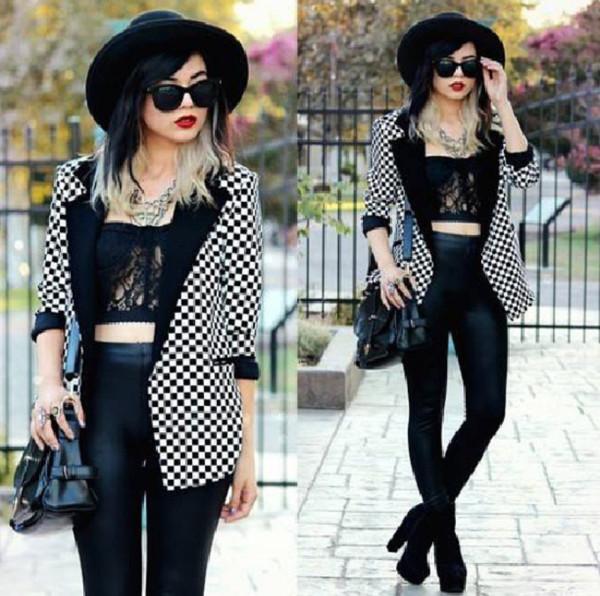 shirt black lace bustier bustier black bustier lace black and white striped blazer pants jacket