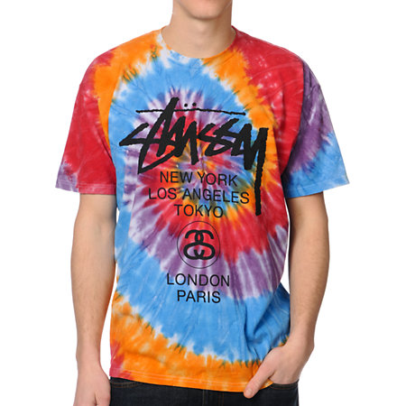 Stussy Swirl Orange & Black Tie Dye Tee Shirt at Zumiez : PDP