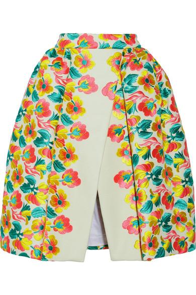 DELPOZO|Floral-embroidered gazar skirt |NET-A-PORTER.COM