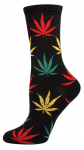 Women's Pot Leaf Comfortable Novelty Crew Socks - Nylon/cotton/lycra