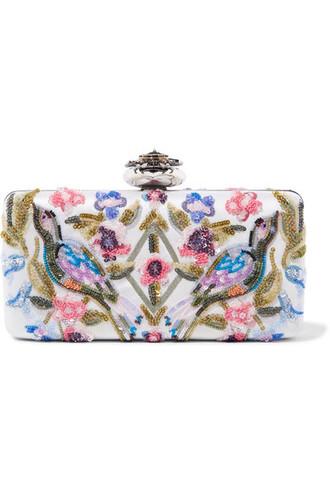 heart embroidered embellished clutch satin bag