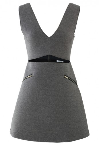 Grey Open Front Airy Skater Dress - Retro, Indie and Unique Fashion