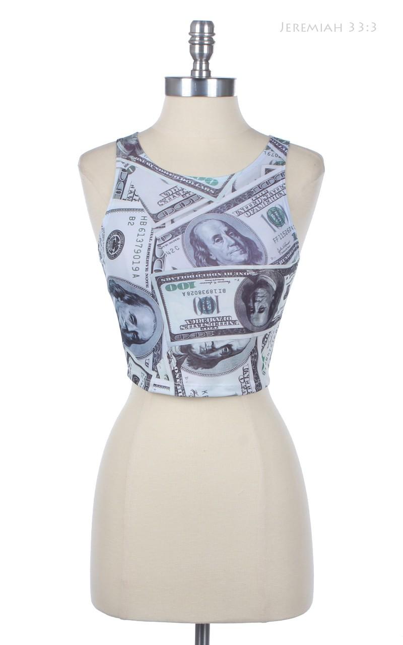 100 Dollar Bill Print Crop Tank
