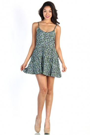 LoveMelrose.com From Harry & Molly   Floral Everyday Dress - Green