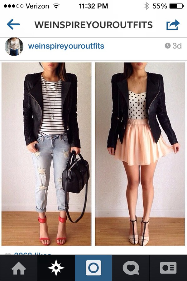 jacket shirt skirt shoes jeans