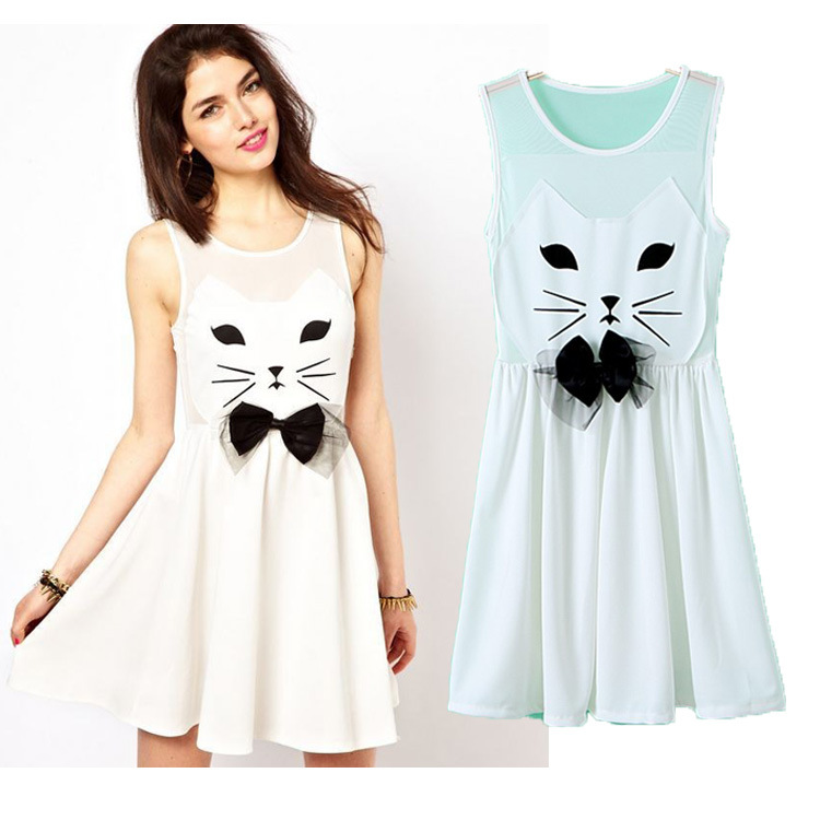Fashion women's perspective gauze bow design vest one piece dress with cat patchwork-inDresses from Apparel & Accessories on Aliexpress.com
