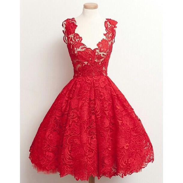 dress vintage dress short lace homecoming dress red homecoming dress party dress evening dress