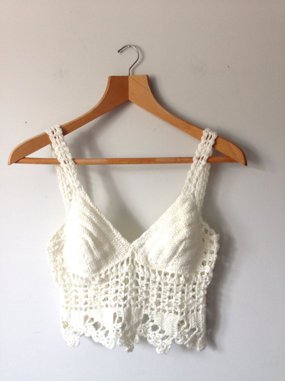 White Crochet Tank Top / 70s Boho Lace Knit by UrbnCatfitters