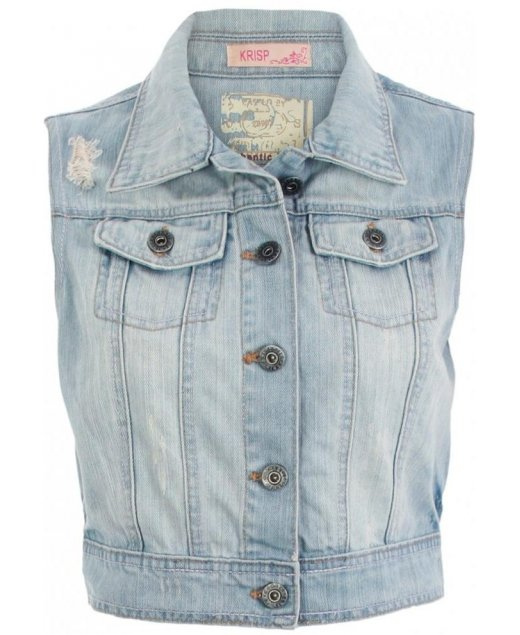 KRISP Blue Bleached Sleeveless Denim Jacket - KRISP from Krisp Clothing UK