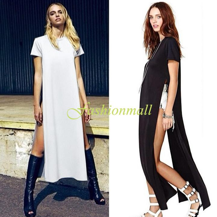 Plus Size Brief Style Women Casual Dress Pop of Junk Gypsy Tee Long T shirt Open On The Sides Cotton Maxi Dresses b8 SV003675-in Dresses from Apparel & Accessories on Aliexpress.com