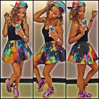 skirt colorful galaxy print