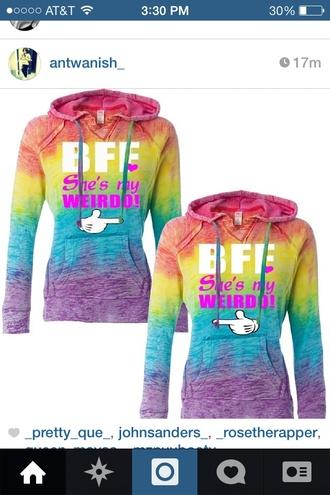 sweater bff shirts bff weirdo friends friendship shirt matching shirts matching tee shirts rainbow shirt rainbow rainbow print pride gay pride lgbt