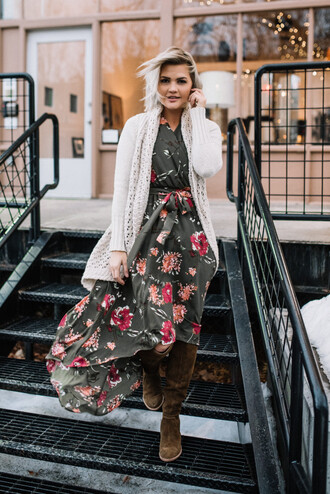 wild one forever - fashion & style by kristin blogger dress sweater shoes jewels maxi dress brown boots boots cardigan winter outfits