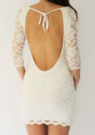 John Zack Cream/White Lace Backless Bodycon Bodycon Mini Dress: Amazon.co.uk: Clothing