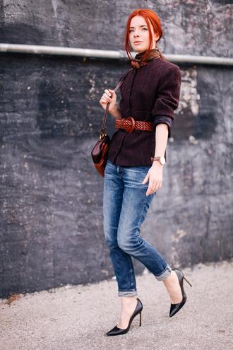 sea of shoes blogger jacket belt scarf bag jewels jeans silk scarf leather belt brown leather belt waist belt