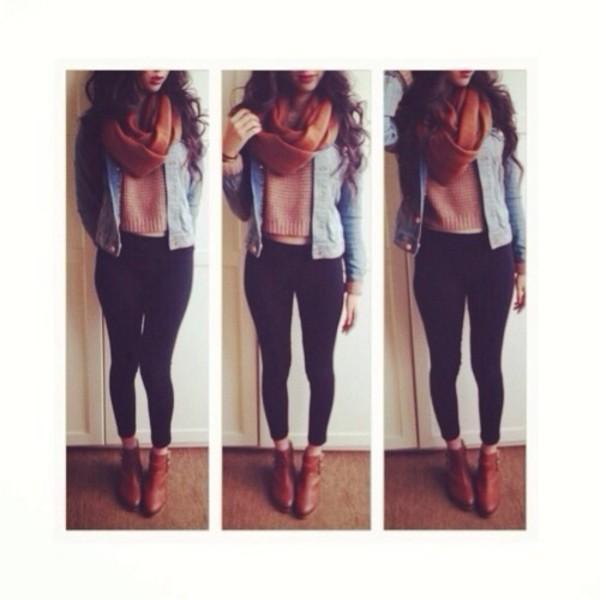 jeans denim jacket blouse scarf shoes i want ! jacket sweater