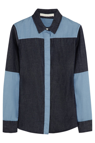 Jonathan Simkhai | Color-block chambray shirt | NET-A-PORTER.COM