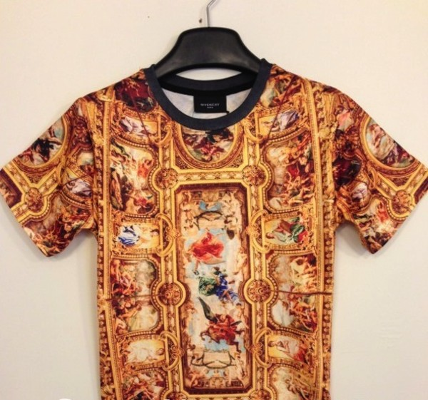 t-shirt print painted cealings religious gold colorful shirt streetstyle