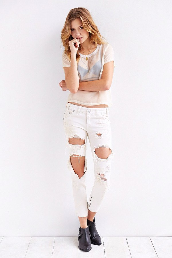 jeans white denim ripped jeans zip top