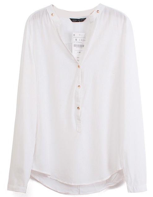 White V Neck Long Sleeve Buttons Blouse - Sheinside.com