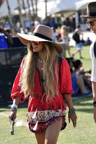 dress romper venessa venessa hudgens festival hat jewels multicolor sunglasses aztec red dress red long sleeves blonde hair