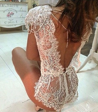 delicate classic intricate underwear romper open back bodysuit white wedding lace laced lingerie backless playsuit jumpsuit shorts backless pearl