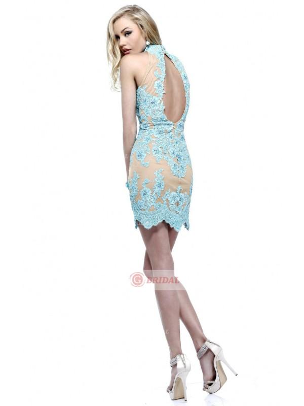 Sheath/Column High Neck Zipper Short/Mini Lace Sleeveless Cocktail Dresses