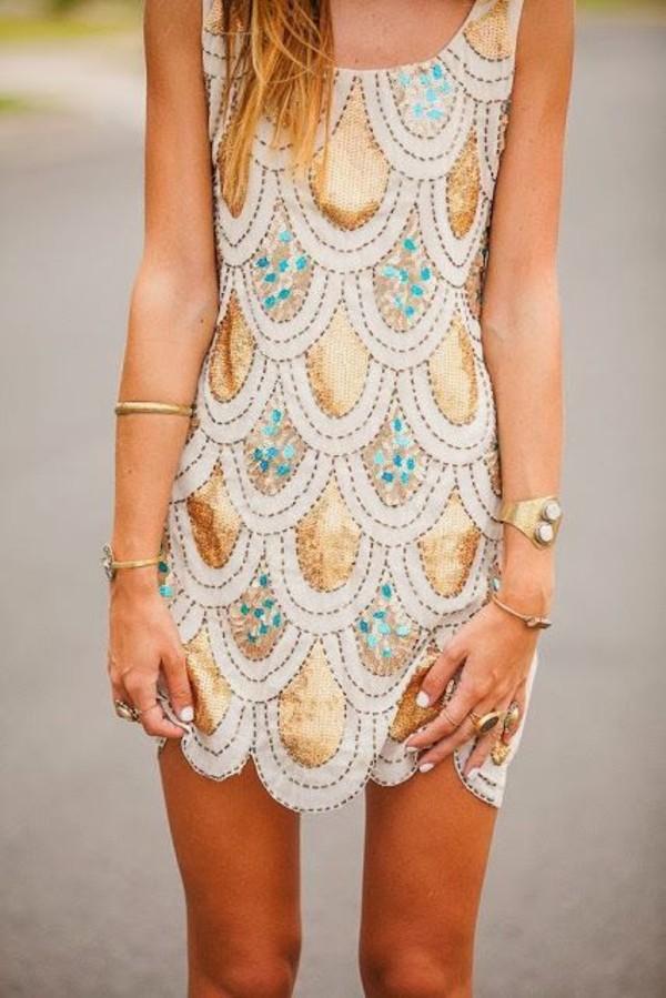 mermaid sequin dress shiny dress shift dress gol gold dress gold bracelet dress sequin mini dress glitter dress gold sequins short dress turquoise fish scales peacock gold summer pattern