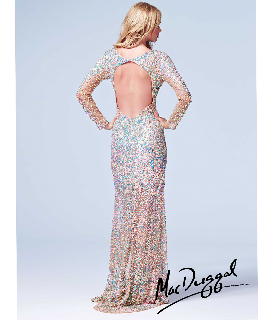 Mac Duggal 2014 Prom Dresses - Nude Metallic Sequin Beaded Long Sleeve Open Back Illusion Gown - Unique Vintage - Prom dresses, retro dresses, retro swimsuits.