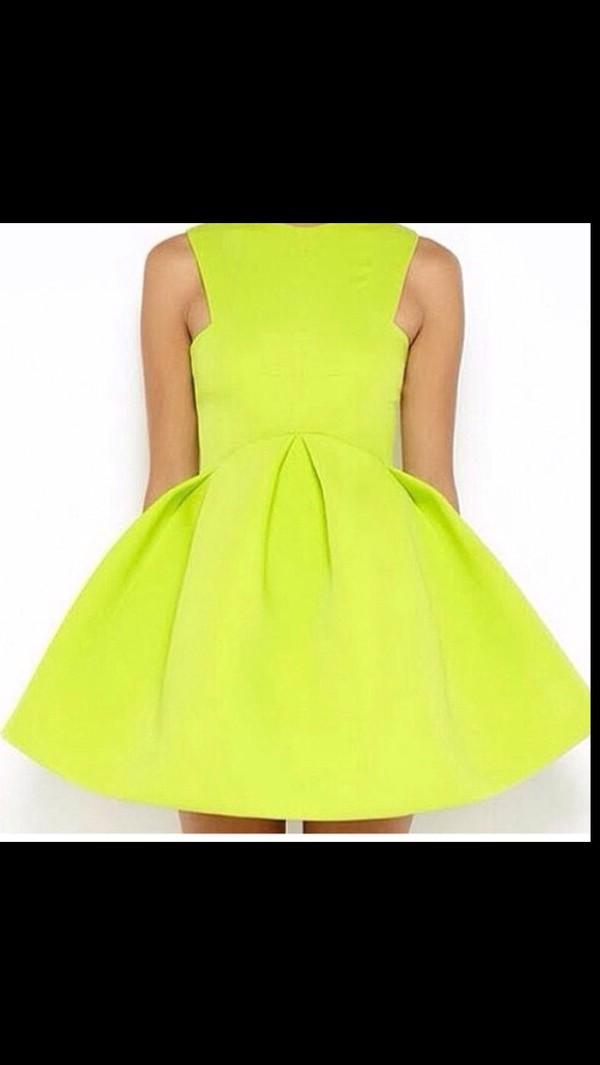 dress neon yellow yellow dress sundress summer cute cute dress