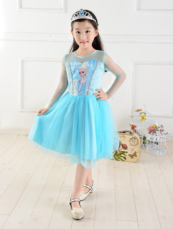 dress girl blue cute children elsa elsa frozen prom dress frozen dress frozen gown long sleeveless prom dress
