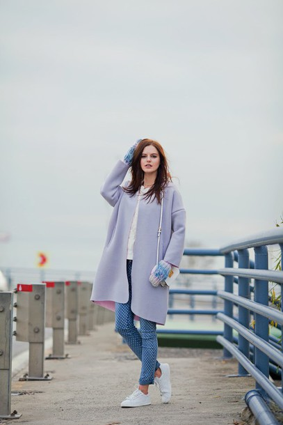 the bow-tie blogger coat lilac printed pants