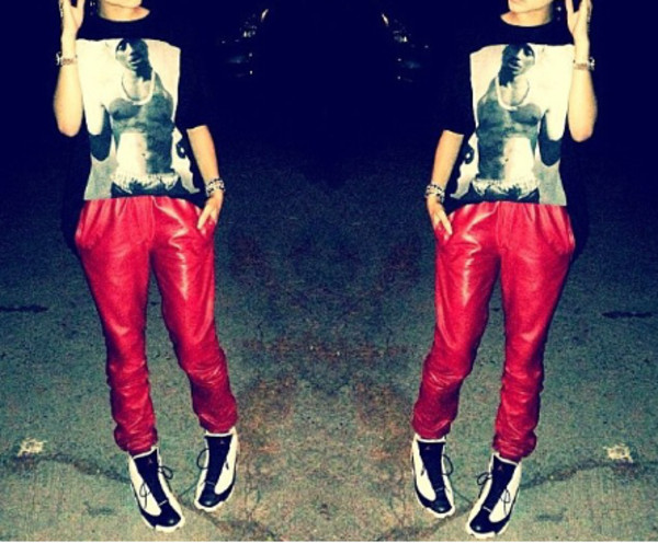 jeans red shirt sweater tupac black and white