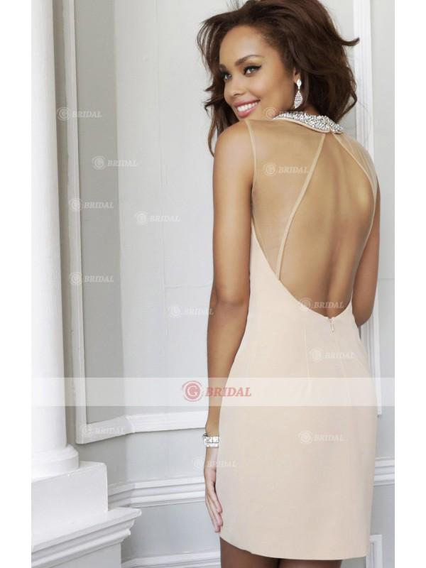 Sheath/Column Round Zipper Short/Mini Chiffon Sleeveless Cocktail Dresses