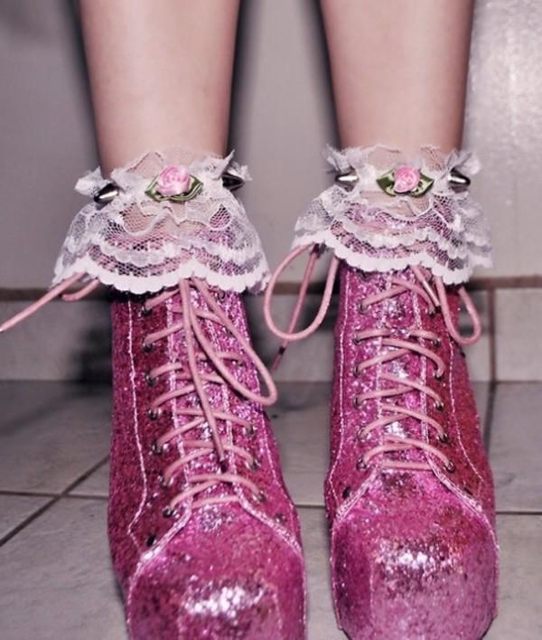 shoes glitter shoes cute socks jeffrey campbell pink high heels platform lace up boots kawaii