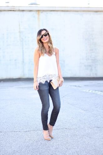 for all things lovely blogger tank top jeans shoes bag jewels valentino rockstud sandals sandal heels slingbacks studded sandals white top lace top spaghetti strap blue jeans spring outfits clutch ysl ysl bag