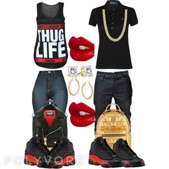 jordans tank top thug life red lipstick outfit air jordan