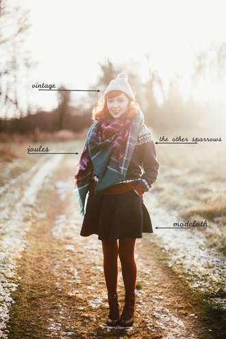 the clothes blogger hat sweater coat scarf skirt tights shoes beanie mini skirt tartan scarf ankle boots