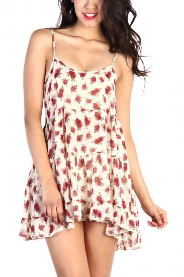 LoveMelrose.com From Harry & Molly | Rose Floral Sheer Lace Dress - Ivory