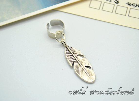 Feather Ear Cuff ,leaf earrings,antique silver cute feather ear cuffs on Wanelo