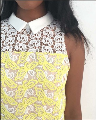 skirt skirt set lace yellow lace white and yellow skirt summer outfits white lace summer vibe