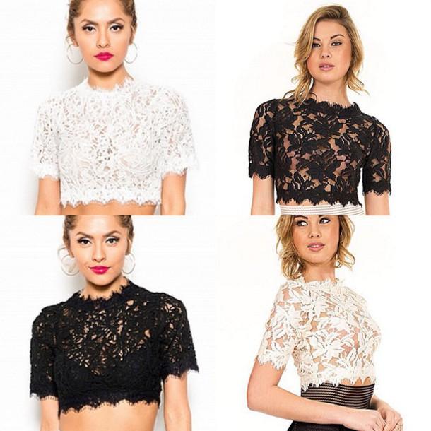 top lace crop top