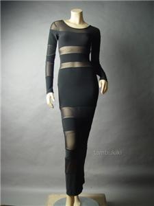 Gothic Black Sheer Mesh Bandage Stripe Evening Gown Long Maxi 26 df Dress S | eBay