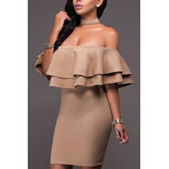 dress brown dress beige dress beige brown ruffle