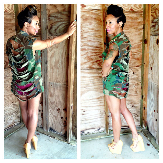 Sleeveless Spiked Ripped Army Gold Silver Camo by ShopBNicole