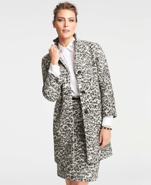 Animal Jacquard Coat   Ann Taylor