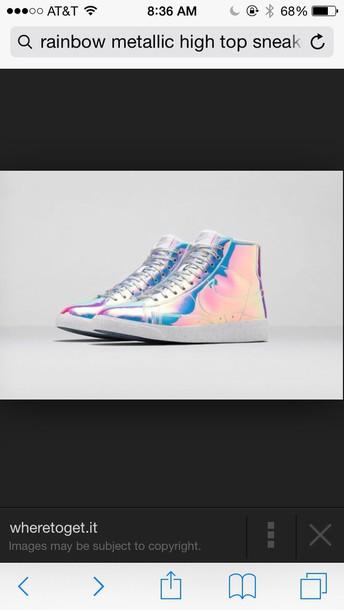 shoes rainbow metallic high top  sneaker